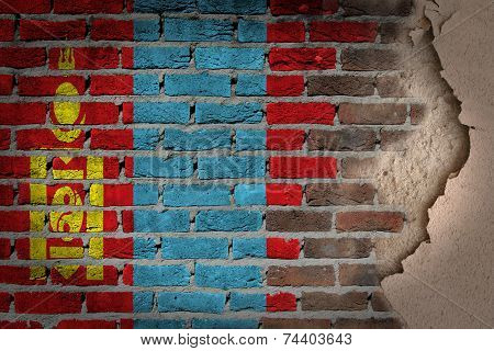 Dark Brick Wall With Plaster - Mongolia