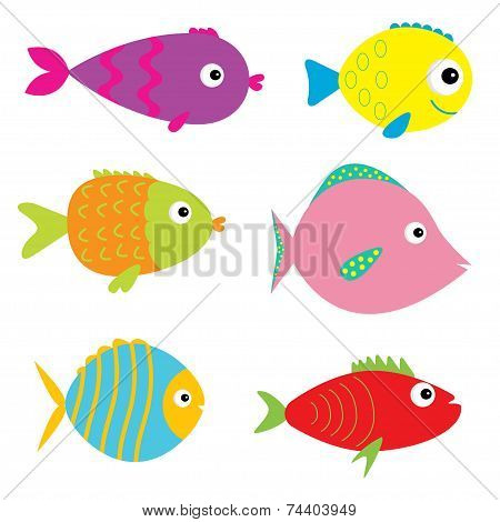 Set Of Cute Cartoon Fishes. Isolated.