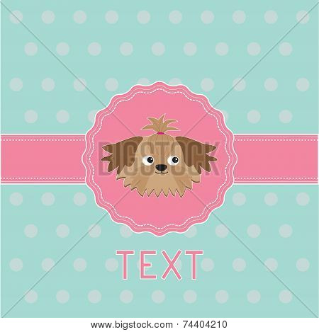 Pink Ribbon And Label With Shih Tzu Dog. Card.