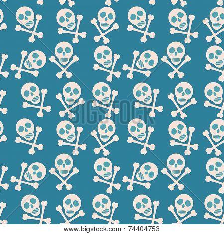Blue Seamless Background. Skull And Bones. Pirates.
