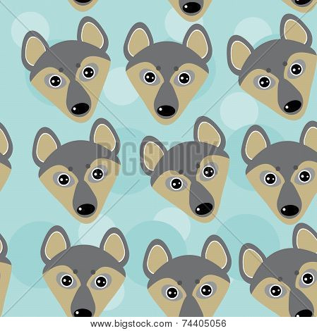 Dog Wolf Seamless Pattern With Funny Cute Animal Face On A Blue  Background