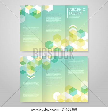 Simple Background For Tri-fold With Hexagons Element