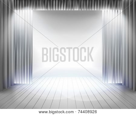 Stage curtain. Vector illustration.