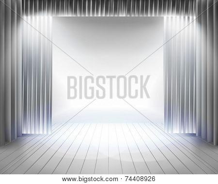 Stage curtain. Vector illustration.