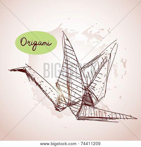 Origami Paper Cranes Sketch. Line On Beige Background.grunge Texture