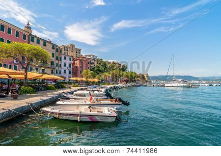 Fezzano Small Town And Harbor Near Portovenere, Liguria, Italy