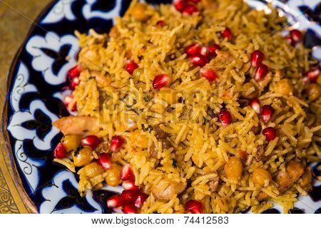 Oriental shah pilaf, pilaw, plov, rice with meat
