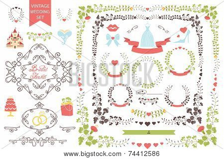 Vintage wedding set.Floral decor, swirling border,icons
