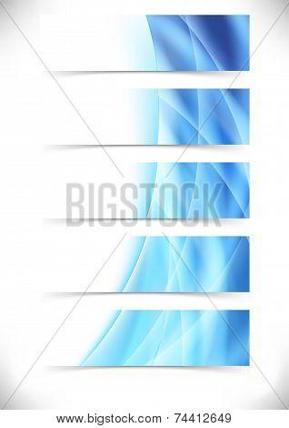Blue Bright Flare Wave Web Header Footer Set