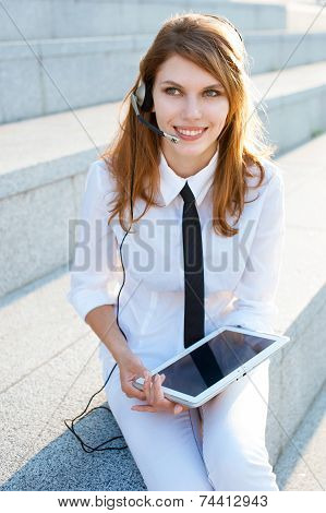 Call center operator with headset
