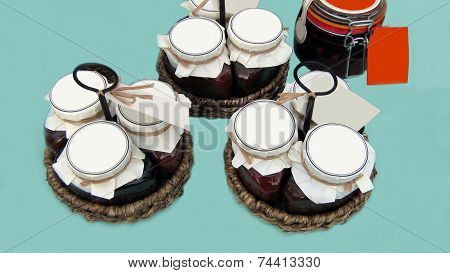 jars of jam in baskets