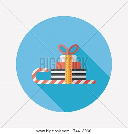Christmas Sleigh Gift Basket Flat Icon With Long Shadow,eps10