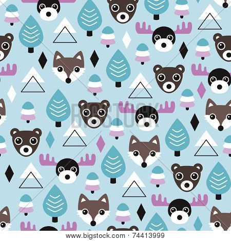 Seamless geometric winter wonderland woodland wolf fox bear and moose animals illustration background pattern in vector