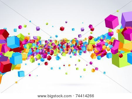 Plastic Colorful Bright Cubic Wave Background