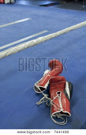 Red Boxing Gloves On Edge of Ring