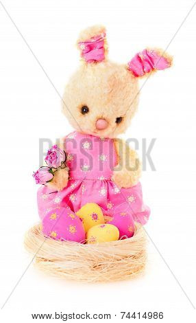 Rabbit Bunny Toy With Flowers And Eggs Isolated