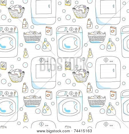 Washing and dryer machines, laundry baskets, detergents seamless pattern on white, vector