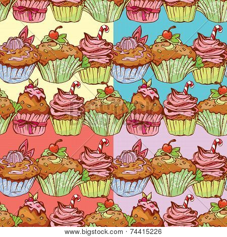 Set Of Seamless Patterns With Decorated Sweet Cupcakes - Background For Cafe, Menu, Birthday Design,
