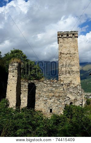 Famous Medieval Georgian Village With Tribal Fortified Tower,mestia Village,svanetia, Georgia
