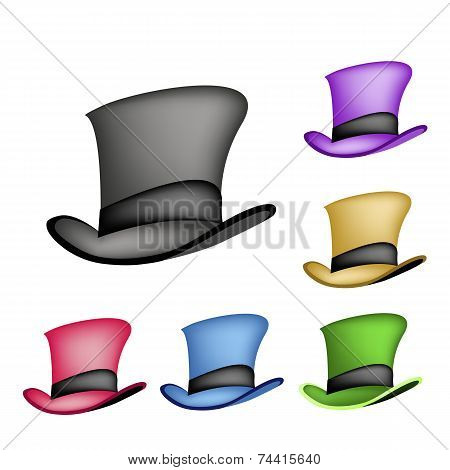Colorful Victorian Style Top Hat on White Background