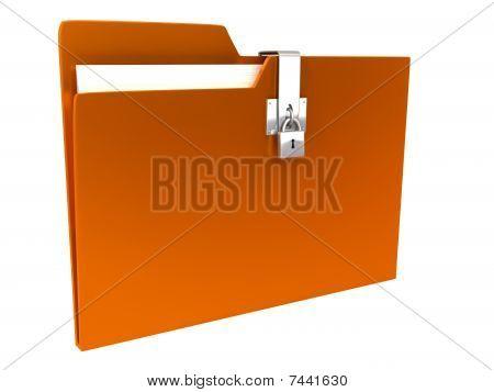 Folder over white background