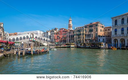 View At The Canal Grande With Bridge Rialto In Venice