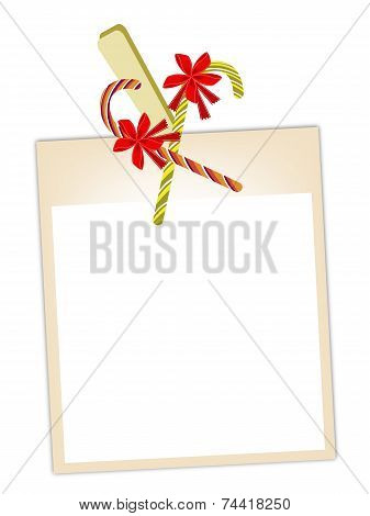 Blank Photos with Candy Canes Hanging on Clothesline