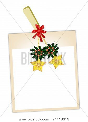 Blank Photos with Golden Stars Hanging on Clothesline