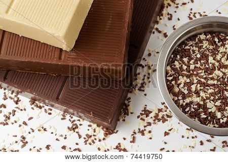 White Brown And Dark Chocolate Bar