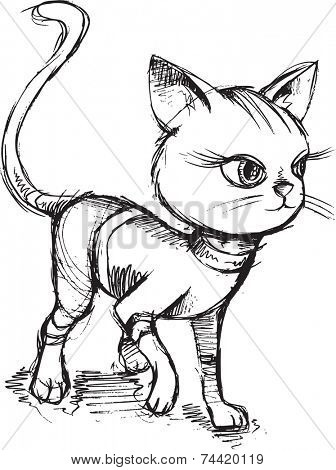 Cat Kitten Sketch Doodle Vector Illustration Art