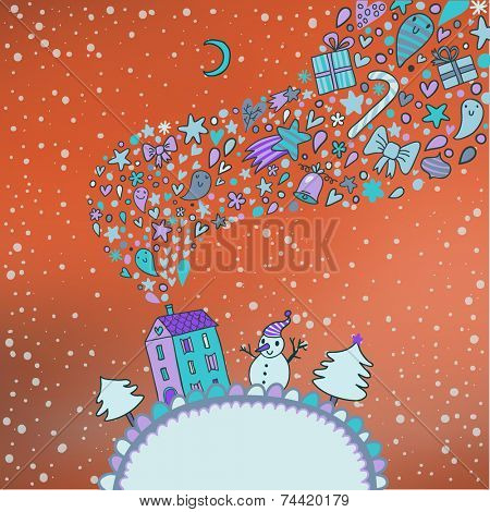Northern lights concept card. Ideal winter holiday background with bright sky, house, fir trees and snowman in vector. Christmas and new year illustration in cartoon style