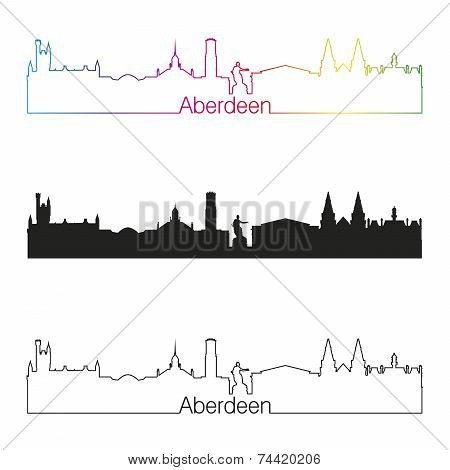 Aberdeen Skyline Linear Style With Rainbow
