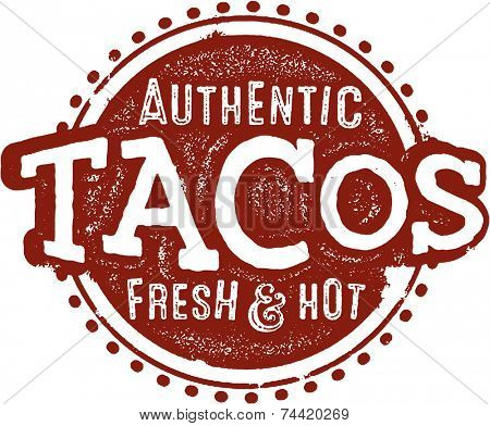 Vintage Style Mexican Food Taco Sign