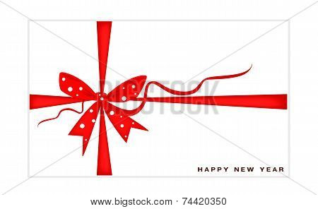 New Year Gift Card with Red Ribbon