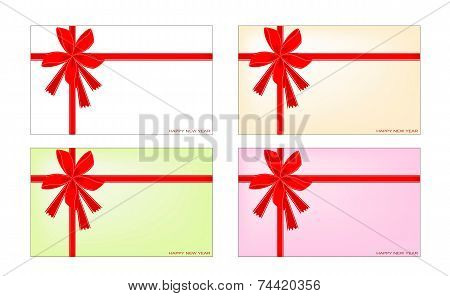 Set of New Year Card with Red Ribbon