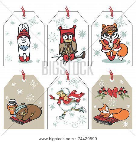 Christmas funny animals tag set