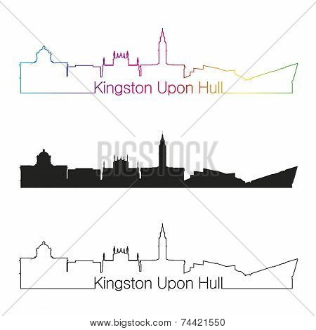 Kingston Upon Hull Skyline Linear Style With Rainbow