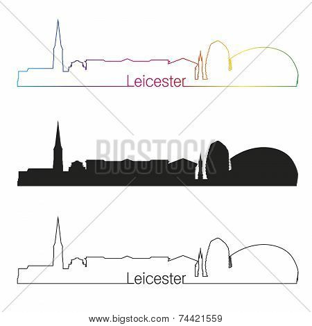 Leicester Skyline Linear Style With Rainbow