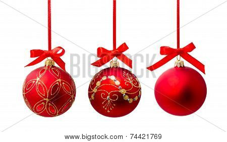 Hunging Red Christmas Ball Isolated