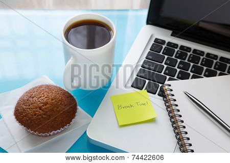 Coffee Break And Paper Note With Break Time Message Stick On Laptop