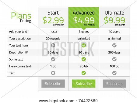 Light Pricing Table With Recommended Plan