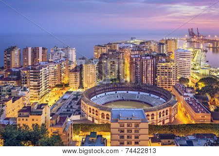 Malaga, Spain cityscape on the Mediterranean Sea.