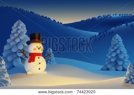 happy snowman, the night Christmas scene