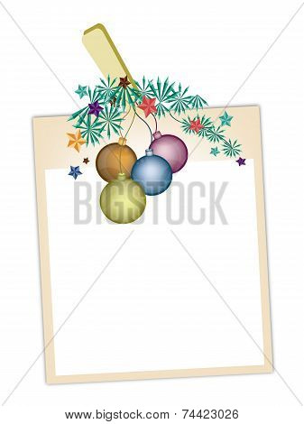 Blank Photos with Christmas Ball Hanging on Clothesline