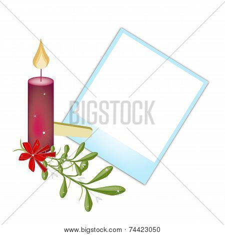 Blank Photos with Mistletoe and Christmas Candle