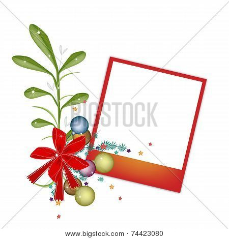 A Red Blank Photos with Mistletoe Bunch