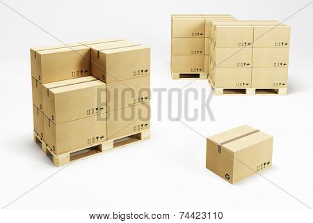 pallets with cardboard boxes, 3d rendering