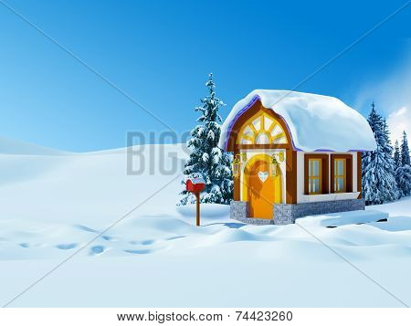 winter house with a mailbox