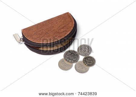 Leather Purse With Coins