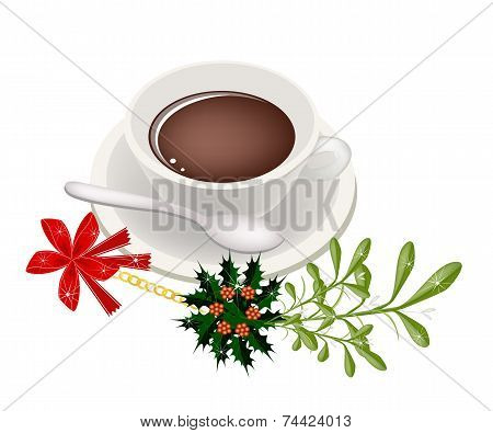 A Cup of Hot Coffee with Mistletoe Bunch